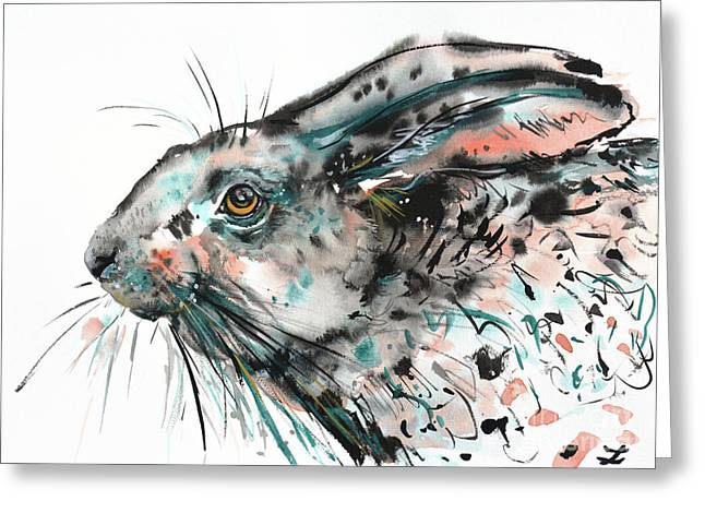 Timid Hare Greeting Card by Zaira Dzhaubaeva