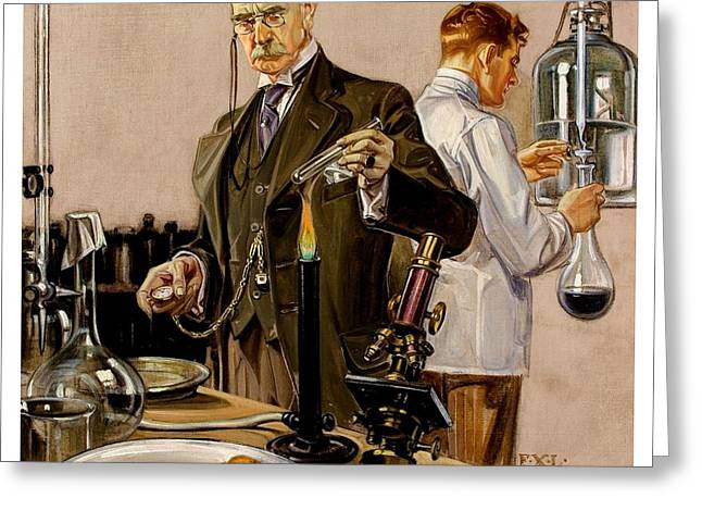Greeting Card featuring the painting Timing An Experiment Frank Leyendecker 1910 by Peter Gumaer Ogden
