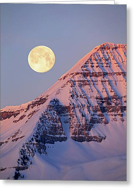Greeting Card featuring the photograph Timp Full Moon Composite by Johnny Adolphson