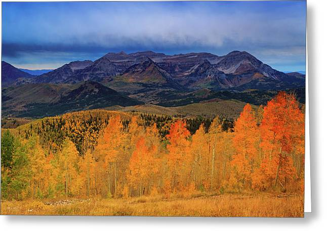Greeting Card featuring the photograph Timpanogos With Golden Aspens. by Johnny Adolphson