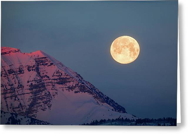 Greeting Card featuring the photograph Timpanogos With The Pink Moon. by Johnny Adolphson