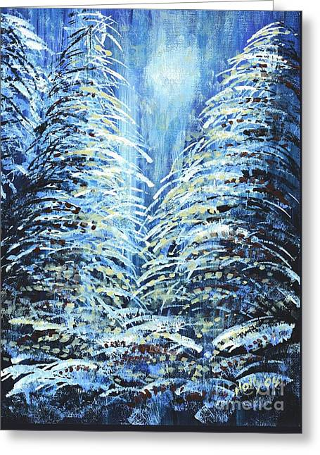 Greeting Card featuring the painting Tim's Winter Forest by Holly Carmichael