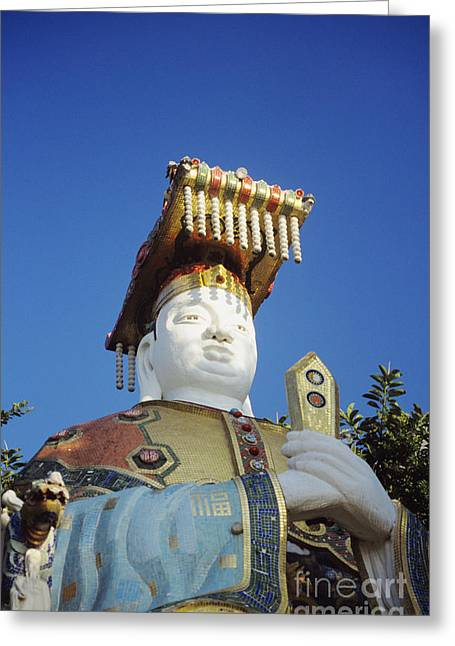Tin Hua Temple Colorful Statue Greeting Card by Gloria and Richard Maschmeyer - Printscapes