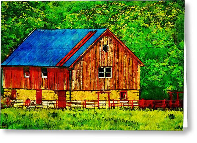 Tin Roof Red Wood And Stone Barn Greeting Card by Anna Louise