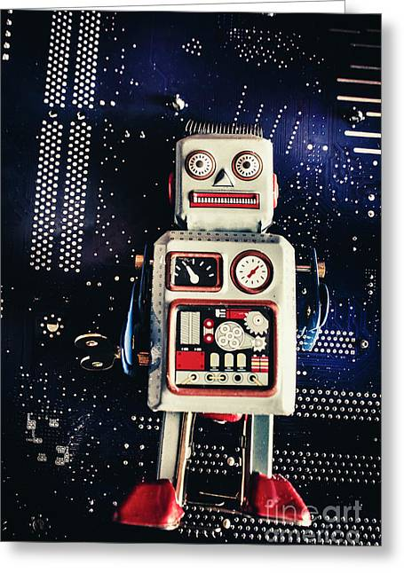 Tin Toy Robots Greeting Card by Jorgo Photography - Wall Art Gallery