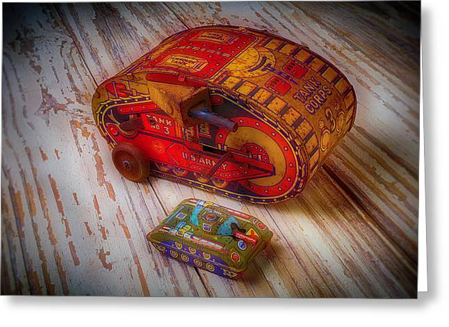 Tin Toy Tanks Greeting Card by Garry Gay