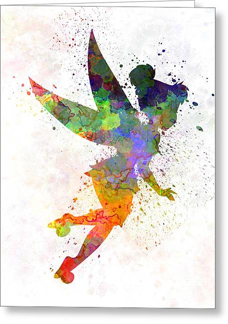 Tinkerbell In Watercolor Greeting Card by Pablo Romero