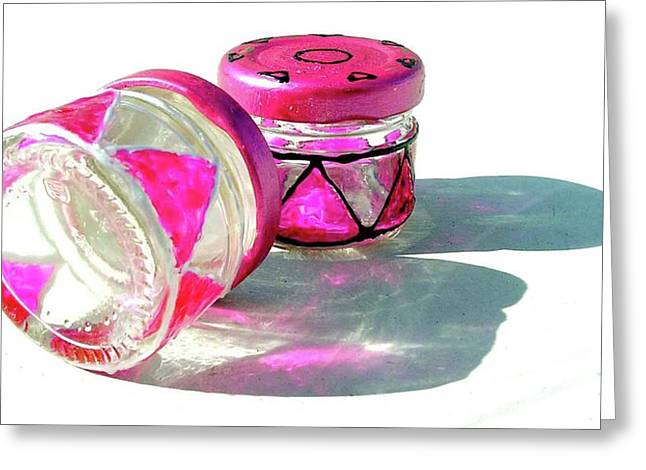 Pink Glass Greeting Cards - Tiny Bottles Greeting Card by Farah Faizal