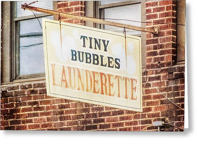 Tiny Bubbles Launderette, Old Fashioned Signage Greeting Card