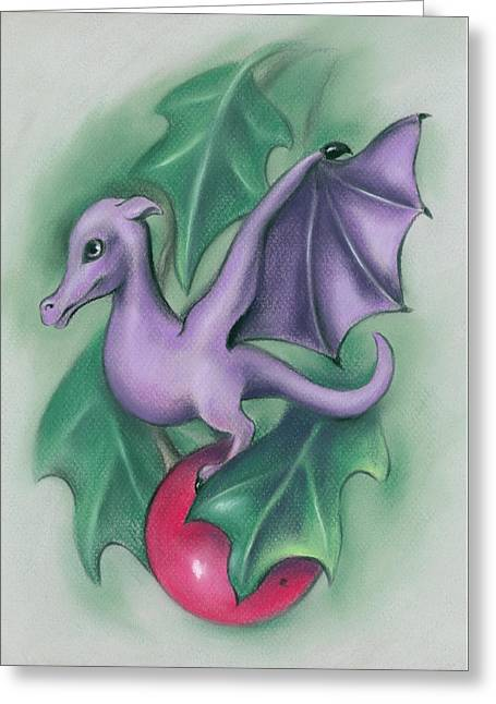 Greeting Card featuring the pastel Tiny Dragon On A Holly Berry by MM Anderson