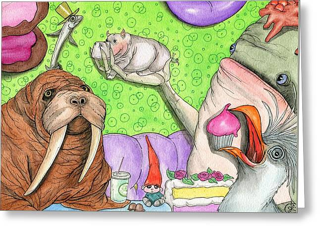 Tiny Hippo Throws A Party Greeting Card by Julie McDoniel