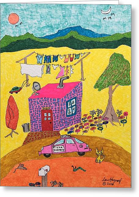Tiny House With Clothesline Greeting Card
