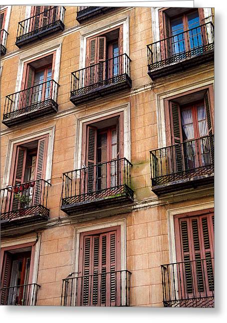 Greeting Card featuring the photograph Tiny Iron Balconies by T Brian Jones