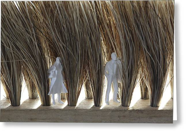 Tiny Man And Woman Hiding In A Brush Greeting Card by Ulrich Kunst And Bettina Scheidulin