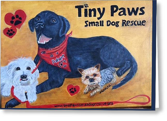 Tiny Paws Small Dog Rescue Greeting Card
