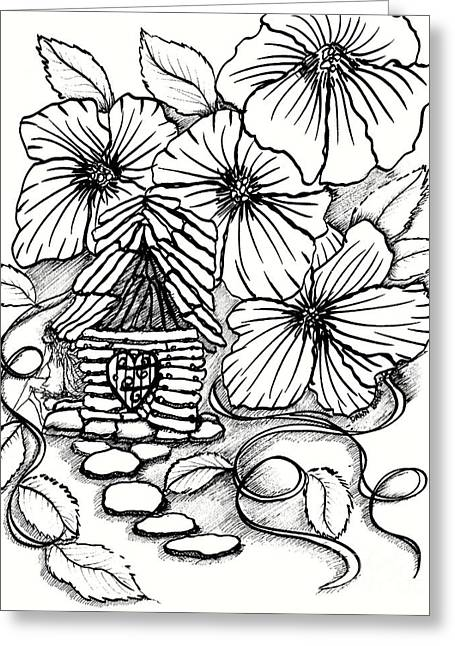 Tiny Stone House And Petunias Greeting Card by Dawn Boyer