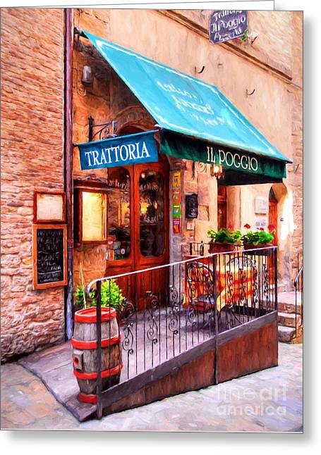 Tiny Trattoria In Tuscany Greeting Card by Mel Steinhauer