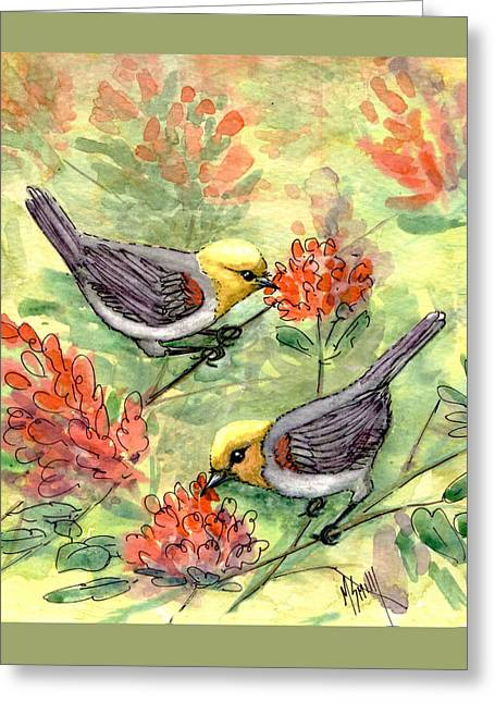 Greeting Card featuring the painting Tiny Verdin In Honeysuckle by Marilyn Smith