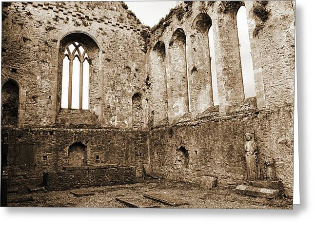 Tipperary Ireland Athassel Priory Medieval Ruins Lancet Windows And St Joseph Statue Sepia Greeting Card by Shawn O'Brien