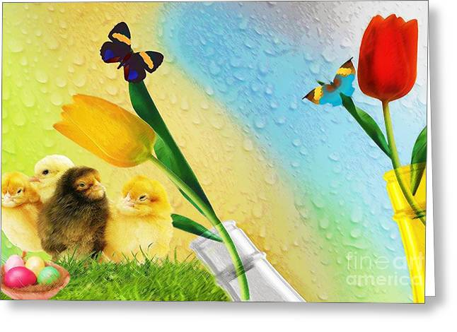 Tiptoe Through The Tulips Greeting Card by Liane Wright