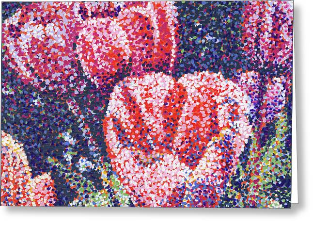 Tiptoe Through The Tulips Greeting Card by Rebecca Bangs