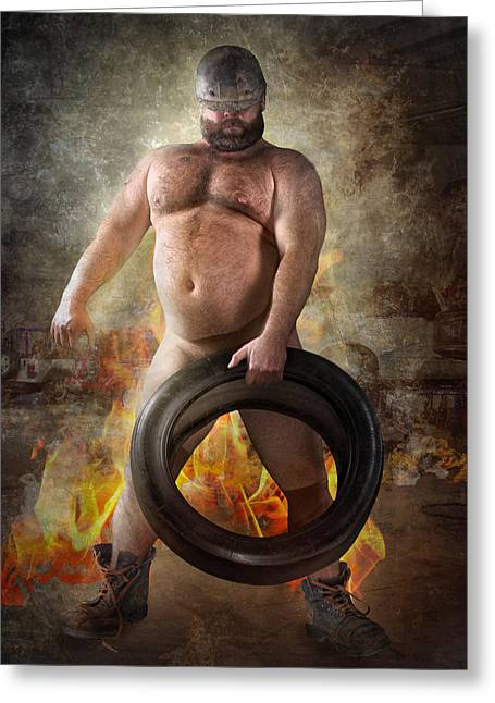 Tire Change Greeting Card by Bear Pictureart