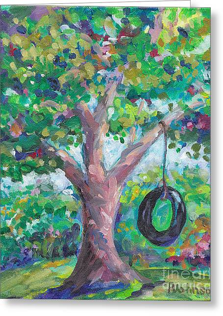 Tire Swing Greeting Card by Peggy Johnson