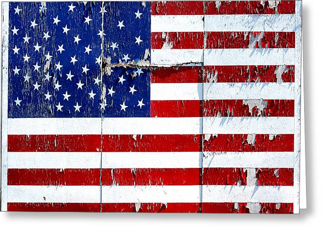Tired Ole Flag Greeting Card by JoAnn Lense