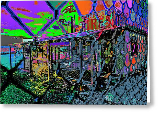 Tires And Broke Behind The Fence Greeting Card by Kenneth James