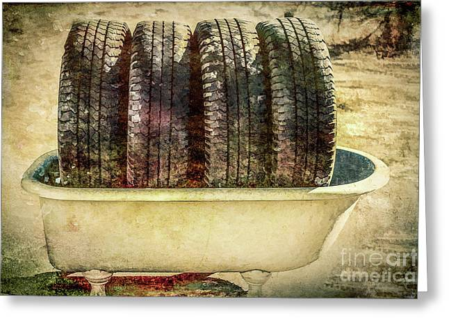 Tires In The Bathtub Greeting Card