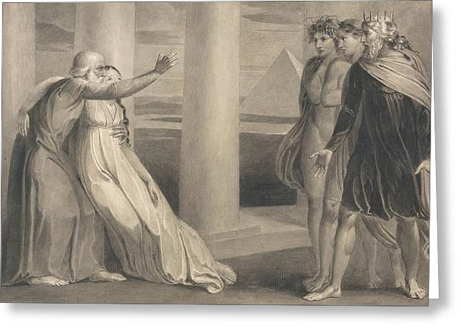 Tiriel Supporting The Dying Myratana And Cursing His Sons Greeting Card by William Blake