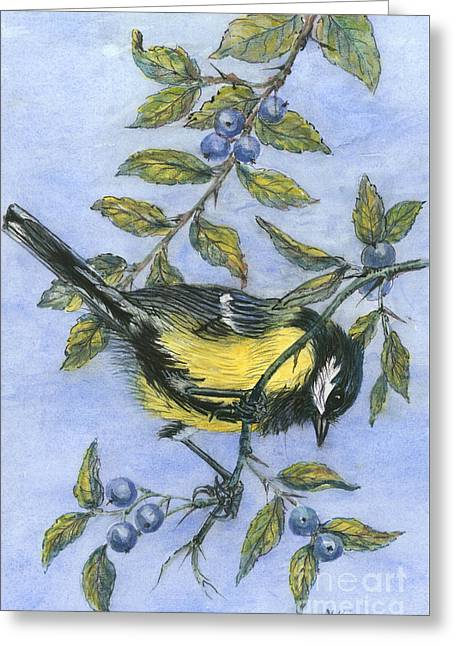 Tit In Blackthorn And Sloe Greeting Card