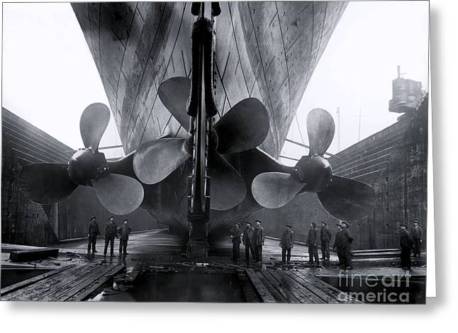 Titanic In The Drydock. Greeting Card by The Titanic Project