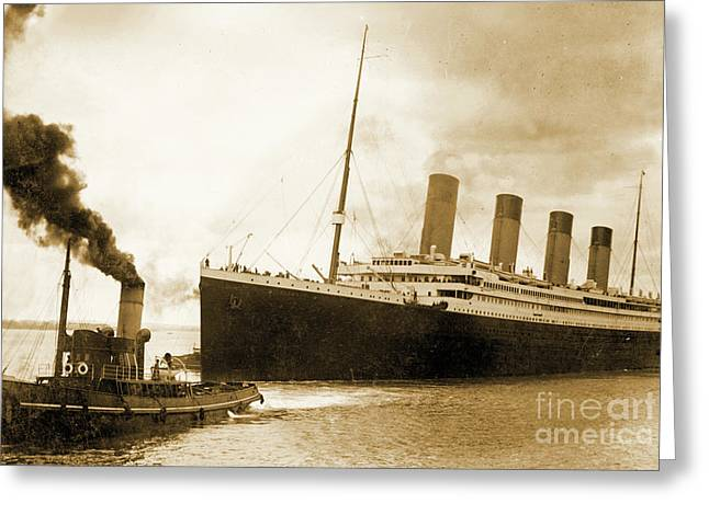 Titanic Leaving Port On It's Maiden Voyage, Circa 1912 Greeting Card