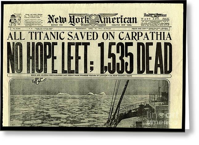Titanic Newspaper  Greeting Card