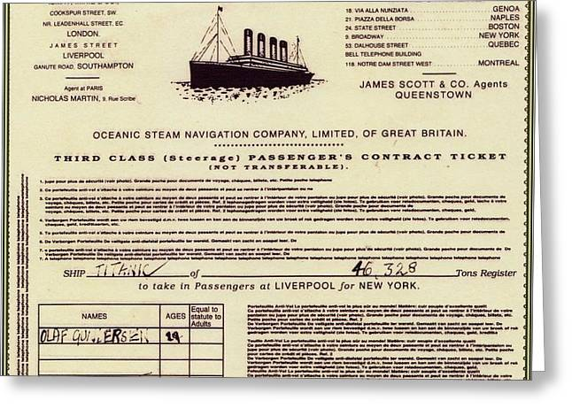 Titanic Passenger Ticket Greeting Card by The Titanic Project