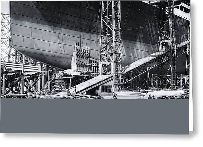 Titanic's Bow In The Gantry Greeting Card by The Titanic Project