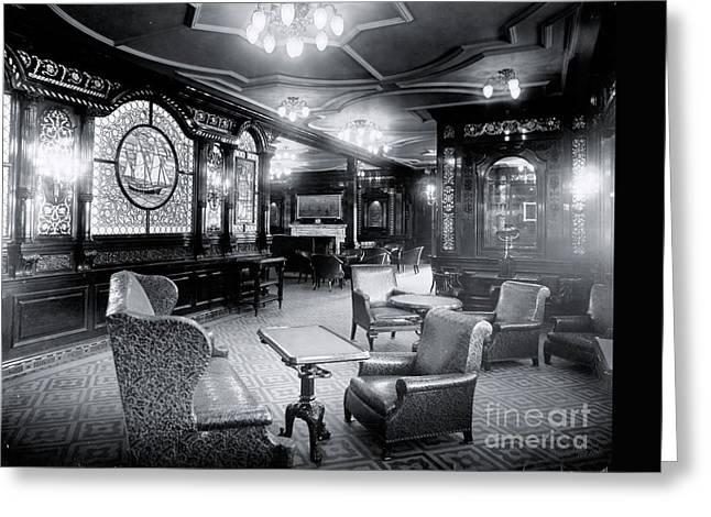 First class greeting cards fine art america titanics first class smoking room greeting card m4hsunfo