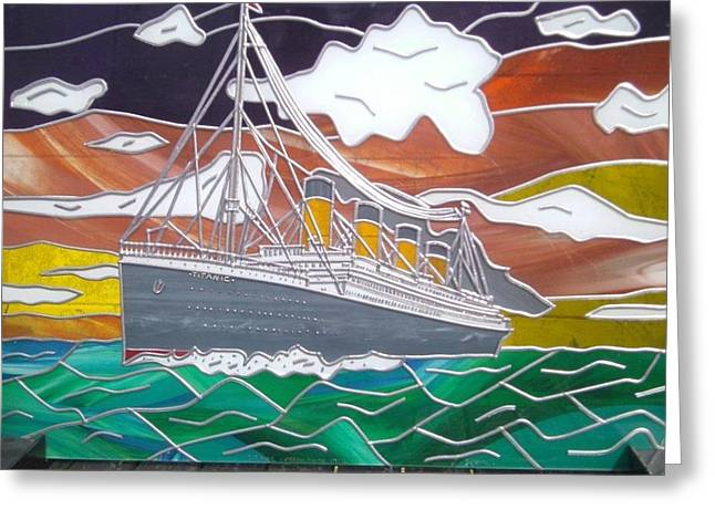 Titanics Last Sunset In Beautiful Stained Glass. Greeting Card by Robin Jeffcoate