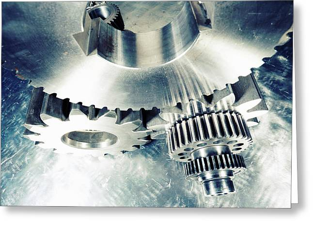 Titanium Aerospace Cogs And Gears Greeting Card by Christian Lagereek