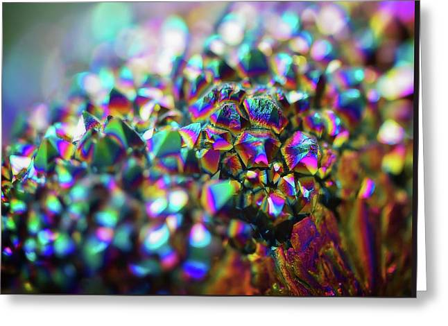Titanium Rainbow Quartz Cluster Close Up #1 Greeting Card by Jennifer Rondinelli Reilly - Fine Art Photography