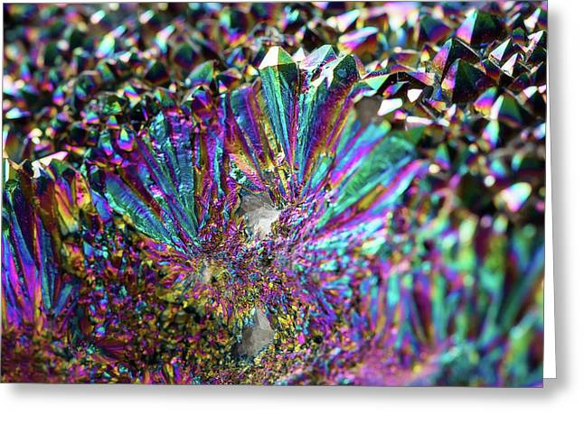 Titanium Rainbow Quartz Cluster Close Up #5 Greeting Card by Jennifer Rondinelli Reilly - Fine Art Photography