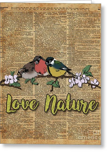 Tit,bullfinch And Sparrow On Branch Over Old Book Page  Greeting Card
