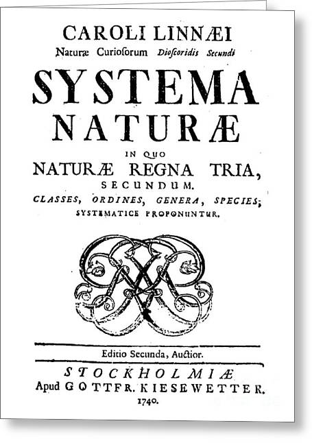 Title Page, Systema Naturae, Carl Greeting Card by Science Source