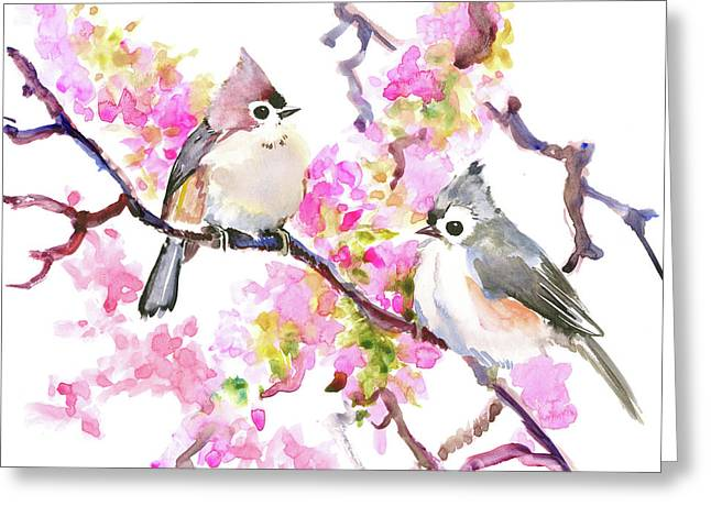 Titmice And Cheery Blossom Greeting Card