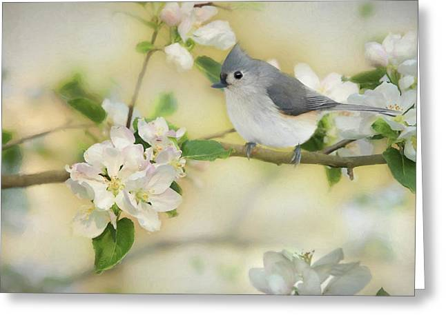 Greeting Card featuring the mixed media Titmouse In Blossoms 2 by Lori Deiter