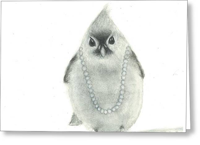 Titmouse With Pearls Greeting Card