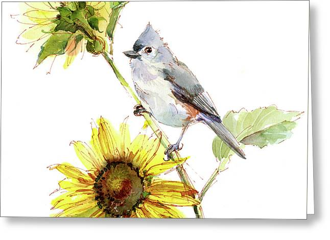 Titmouse With Sunflower Greeting Card