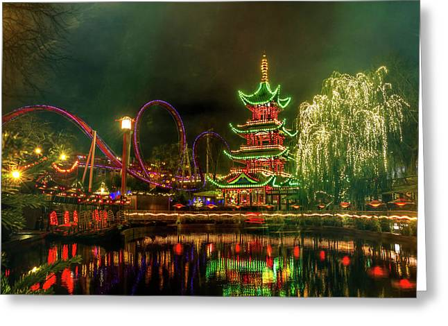 Tivoli Gardens In Copenhagen By Night  Greeting Card by Carol Japp