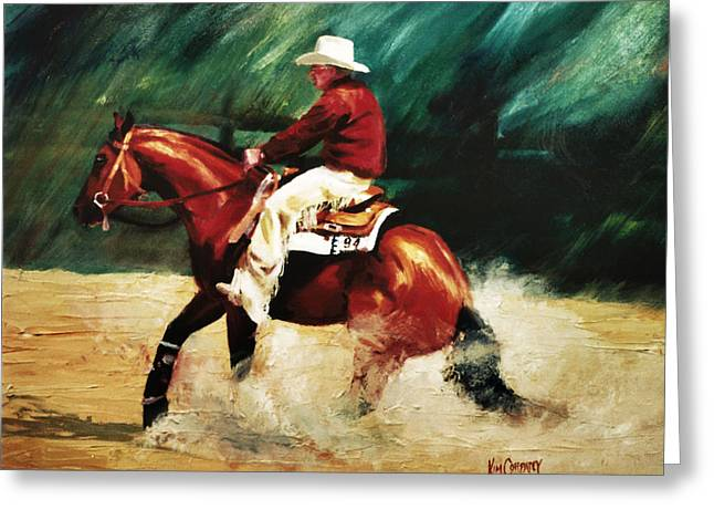Slide Paintings Greeting Cards - TK Enterprise Sliding Stop Reining Horse Portrait Painting Greeting Card by Kim Corpany